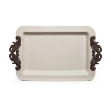 "Acanthus Leaf Tray with Metal Accents by GG Collection, 23.8""L"