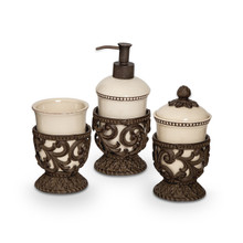 Cream Acanthus Leaf Vanity Containers by GG Collection, 3 Piece Set