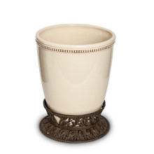 "Cream Acanthus Leaf Waste Basket by GG Collection, 10""H"