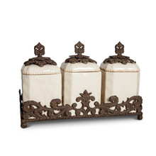 "Provencial Ceramic Triple Canister Set by GG Collection, 19.5""H"