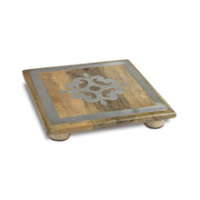 10 Inch Mango Wood Square Trivet with Metal Inlay, GG Heritage Collection