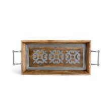 30 Inch Mango Wood Oval Tray With Metal Inlay, GG Heritage Collection