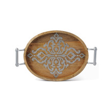 "Medium Oval Mango Wood Tray with Metal Inlay, GG Heritage Collection, 20.75""L"