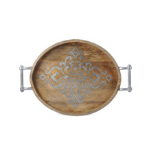 "Large Oval Mango Wood Tray with Metal Inlay, GG Heritage Collection, 25.5""L"
