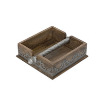 Square Mango Wood Napkin Holder with Metal Inlay, GG Heritage Collection, 7 Inch