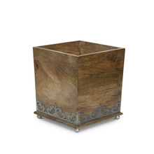Mango Wood Wastebasket with Metal Inlay, GG Heritage Collection