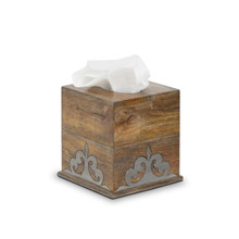 Mango Wood Tissue Box with Metal Inlay, GG Heritage Collection