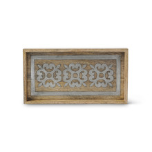 Mango Wood Bath Tray with Metal Inlay, GG Heritage Collection