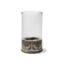 "Small Mango Wood with Metal Inlay Hurricane Candleholder, GG Heritage Collection, 12.5""H"