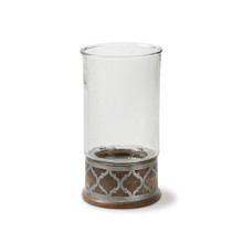 "Medium Mango Wood with Metal Inlay Hurricane Candleholder, GG Heritage Collection, 14.5""H"