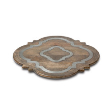 "Mango Wood Lazy Susan with Ogee Metal Inlay, GG Heritage Collection, 24""D"
