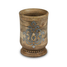Mango Wood Utensil Holder with Metal Inlay, GG Heritage Collection