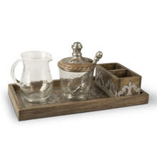 Mango Wood Cream And Sugar Set with Metal Inlay, GG Heritage Collection