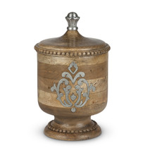 Small Mango Wood Canister with Metal Inlay, GG Heritage Collection