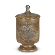 Medium Mango Wood Canister with Metal Inlay, GG Heritage Collection