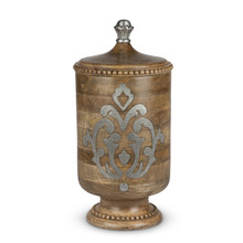 Large Mango Wood Canister with Metal Inlay, GG Heritage Collection