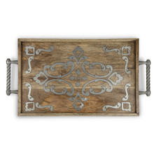 Mango Wood with Metal Inlay Bed Tray, GG Heritage Collection