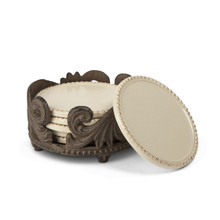 Set of 6 Acanthus Coasters with Holder by GG Collection
