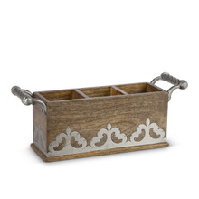 Mango Wood with Metal Inlay Flatware Caddy, GG Heritage Collection