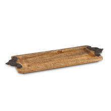 Antiquity Mango Wood Tray with Metal Handles by GG Collection