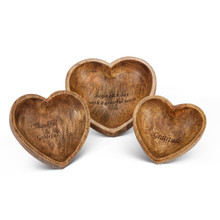Set of 3 Gratitude Mango Wood Heart Serving Bowls by GG Collection