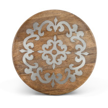 "Mango Wood Lazy Susan with Metal Inlay, GG Heritage Collection, 18""D"