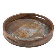 "Round Mango Wood Tray with Metal Inlay ""A"" Monogram, 20""D - GG Heritage Collection"