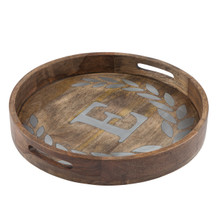 "Round Mango Wood Tray with Metal Inlay ""E"" Monogram, 20""D - GG Heritage Collection"