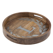 "Round Mango Wood Tray with Metal Inlay ""L"" Monogram, 20""D - GG Heritage Collection"