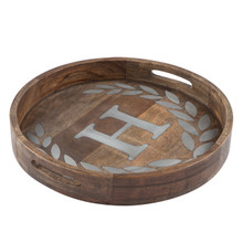 "Round Mango Wood Tray with Metal Inlay ""H"" Monogram, 20""D - GG Heritage Collection"