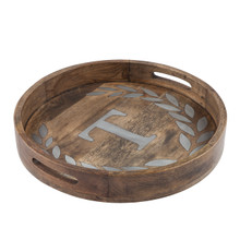 "Round Mango Wood Tray with Metal Inlay ""T"" Monogram, 20""D - GG Heritage Collection"