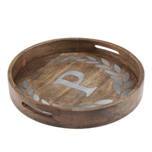 "Round Mango Wood Tray with Metal Inlay ""P"" Monogram, 20""D - GG Heritage Collection"