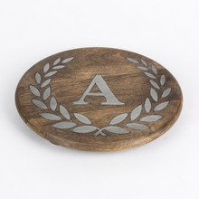 "Round Mango Wood Trivet with Metal Inlay ""A"" Monogram, 10""D - GG Heritage Collection"