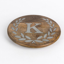 "Round Mango Wood Trivet with Metal Inlay ""K"" Monogram, 10""D - GG Heritage Collection"