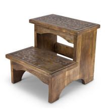Mango Wood with Metal Inlay Step Stool - GG Heritage Collection