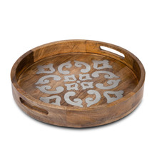 20 Inch Round Mango Wood Tray with Metal Inlay - GG Heritage Collection
