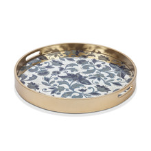 "Small Round Etched Floral Tray by GG Collection, 19""D"