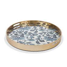 "Medium Round Etched Floral Tray by GG Collection, 23""D"