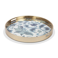"Medium Round Grand Floral Tray by GG Collection, 23""D"