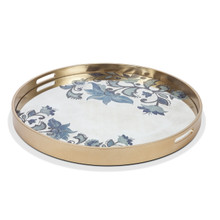 "Large Round Grand Floral Tray by GG Collection, 26""D"