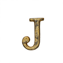 Metal Letter-J, Rustic Finish, 1.5 Inches Tall