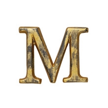 Metal Letter-M, Rustic Finish, 1.5 Inches Tall