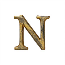 Metal Letter-N, Rustic Finish, 1.5 Inches Tall