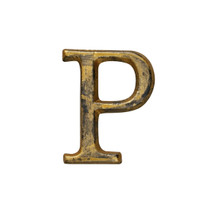 Metal Letter-P, Rustic Finish, 1.5 Inches Tall
