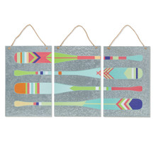 Set of 3 Metal Oars Wall Décor