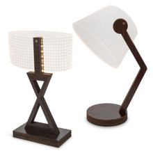 Set of 2 Etched Acrylic Lighted Lamps