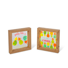 Lighted Acrylic Pineapple Wall Art - 4 Pieces (2 of each design)
