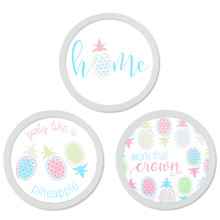 Round Pineapple Wall Décor Assorted - 6 Pieces (2 of each design)