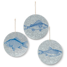 Metal Round Fish Wall Décor - 6 Pieces (2 of each design)
