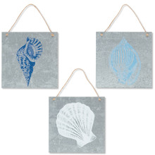 Metal Square Sea Shell Wall Décor - 6 Pieces (2 of each design)